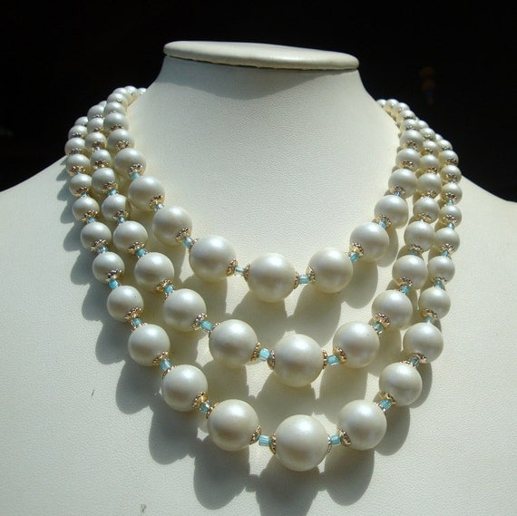 Mad Men 1960s  White Matte Bead Necklace, Japan, Aqua Glass and Shiny Gold Spacers, 3 Strands of Luminescent Graduated Beads