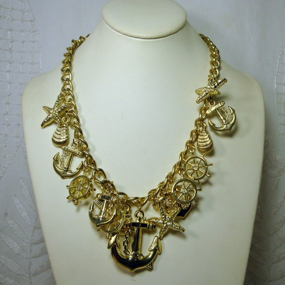 Nautical Gold Charm Necklace, July 4th, Anchors, Starfish, Ships Wheels, Sea shells, all 16 Dangles On Adjustable Chain