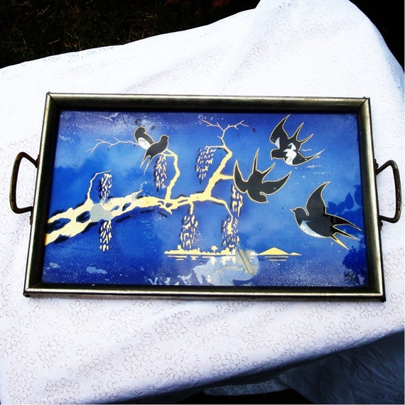 Art Deco Reverse Painted Glass Blue Tray By Vintagestarrbeads