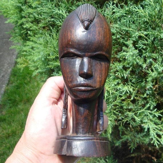 Vintage ebony wood masai warrior head s black african