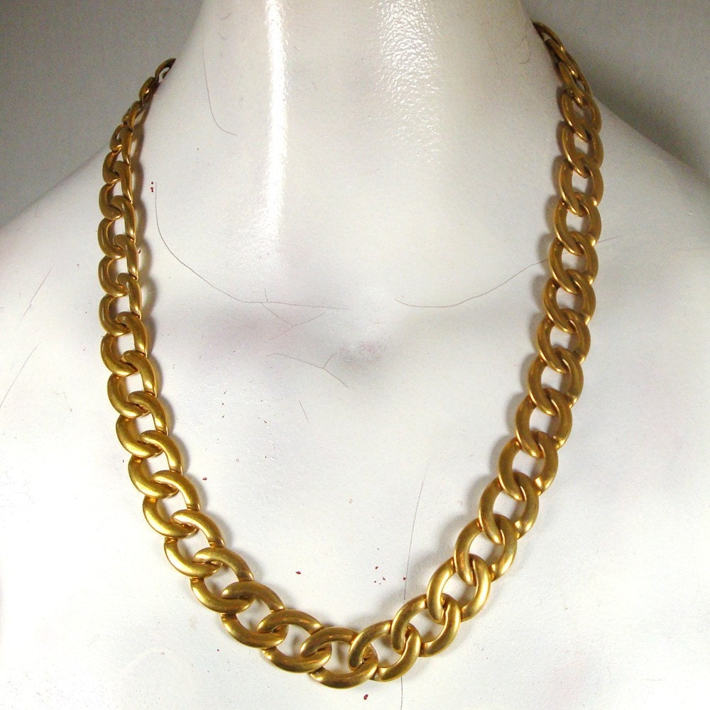 large gold chain necklace shiny gold chain link