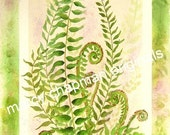 ferns and violets---click to see entire image ---original watercolor---14x30