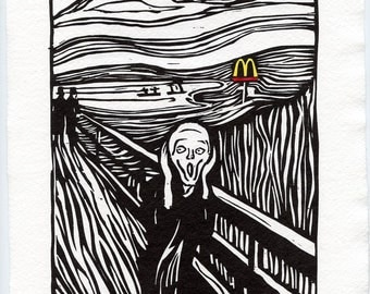 McScream - E. Munch Tribute/Parody Woodcut restrike