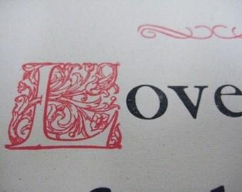 Letterpress Roycroft Broadside - Elbert Hubbard Quote - Lovers are fools...
