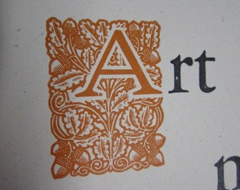 Letterpress Roycroft Broadside -Elbert Hubbard Quote -Art is not a Thing...