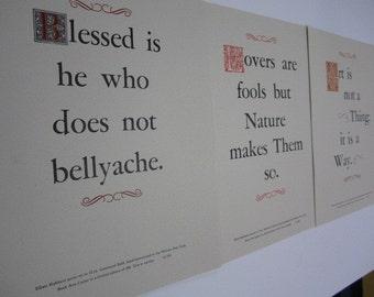 Set of 3 Roycroft Letterpress Broadsides - epigrams