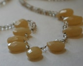 yellow jade and gold quartz necklace