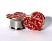 "Red and Gold Queen of Heart Plugs 1/2"" 9/16"" 5/8""  12mm 14mm 16mm"