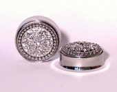 Silver Crystal Cluster Plugs 1 1/8 1 3/16 1 1/4 Inch 28mm 30mm 32mm