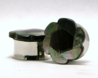 Multicolor Mother of Pearl Flower Plugs 7/8 Inch 22mm