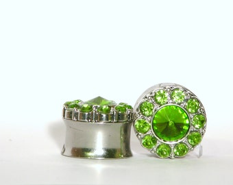 "Silver and Green Crystal Plugs 5/8"" 3/4"" 16mm 19mm"
