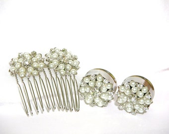 """Pearl And Diamond Wedding Plugs 3/4"""" 7/8"""" 1"""" 19mm 22mm 25mm With Matching Hair Comb"""