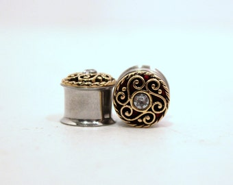 Gold Crystal Plugs 7/16 1/2 9/16 Inch 11mm 12mm 14mm
