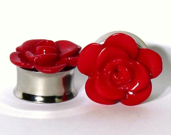 Deep Red Rose Plugs 5/8 3/4 Inch 16mm 19mm