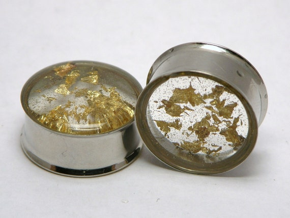 "Gold Flake Plugs 0G 00G 7/16"" 1/2"" 9/16"" 5/8"" 3/4"" 7/8"" 1"" 8mm 10mm 11mm 12mm 13mm 14mm 16mm 19mm 22mm 25mm"