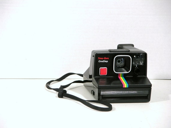 Vintage Polaroid One Step Land Camera Black with Rainbow Stripe