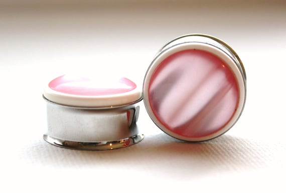 Pink Pearl Plugs 7/8 Inch 22mm One Of A Kind