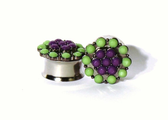 "Pebble Flower Plugs 3/4"" 7/8"" 1"" 19mm 22mm 25mm"