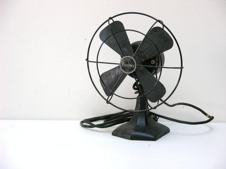 Mini Vintage Black Wagner Metal Desk Fan Electric By