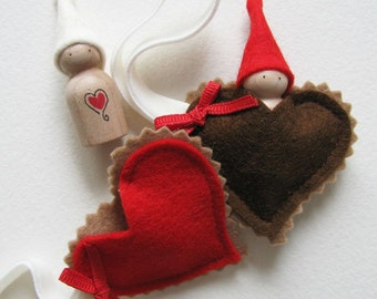 Waldorf Valentine Love Gnome -- I love you my little heart -- Red