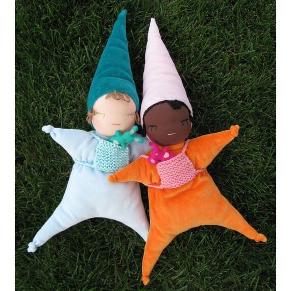 Baby waldorf doll toys... cuddly little elf...It's a darling...Iight.skin blue elf