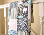 Zoology Patchwork Quilted Baby Blanket