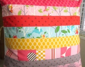 It's A Hoot Patchwork Striped Pillow Cover -- 20 Inch