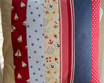 Nautical Patchwork Quilted Pillow -- 16 Inch
