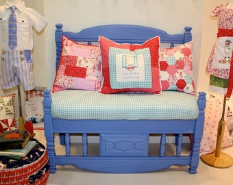 Children At Play Patchwork Pillows -- Set of 2 -- 18 Inch
