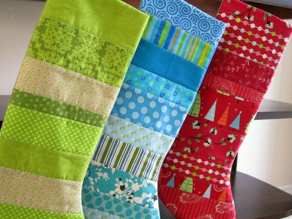 Quilted Patchwork Christmas Stockings -- Set of three -- Green, Blue, Red
