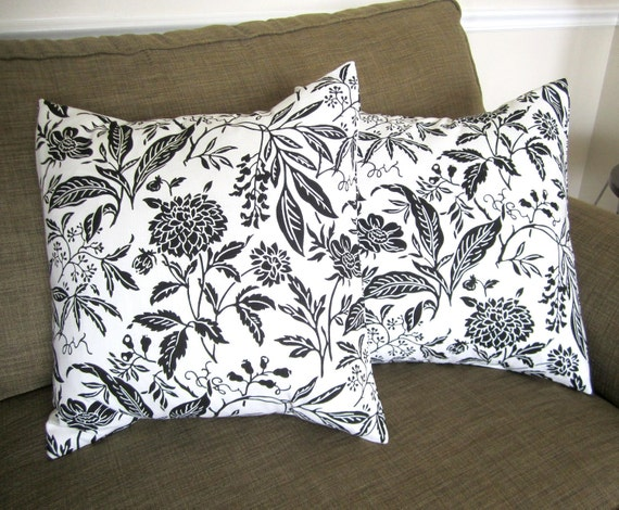 Black and White Botanical Pillows -- 18 Inch -- Set of 2