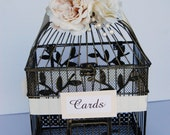 READY TO SHIP - Large Wedding Rustic Bird Cage Card Holder - Ivory With Berries Pearls