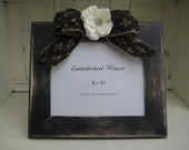 SALE Handpainted 8x10 Shabby Chic Frame Embellished with Bow, Vintage Rhinestone Button, and Flower