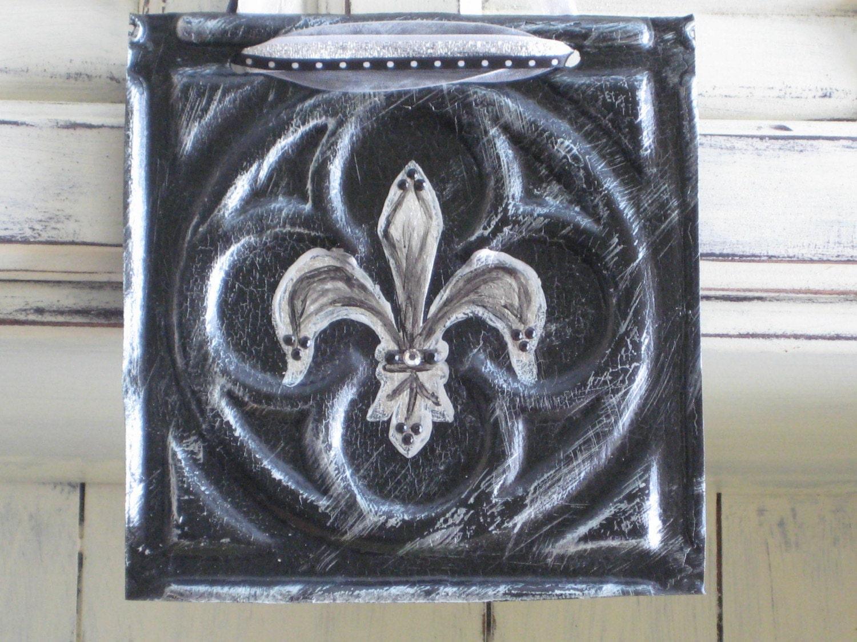 Antique Tin Ceiling Tile Handpainted With Fleur De Lis Sign