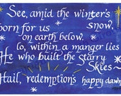 Watercolor Calligraphy Christmas Notecard Set of 10 Winter's Snow
