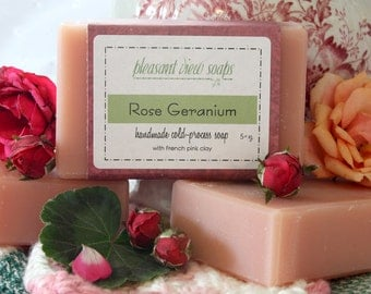 Rose Geranium Handmade Soap Cold-Process Bar