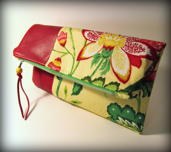 Fold-over Clutch Cherry Red Leather with Bold Yellow and Red Floral Print