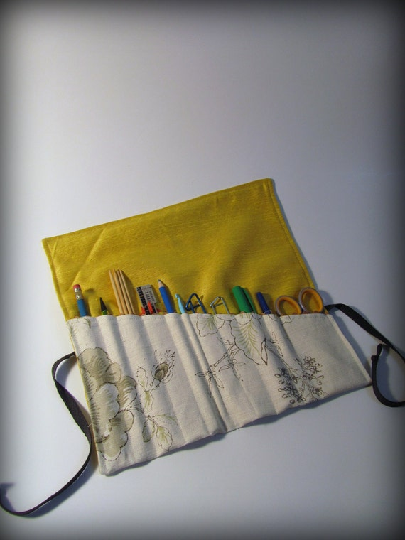 Utensil and Pencil Roll - Mustard Yellow Silk and Grey Floral