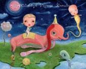 Big Eye Elephant & Baby on Floating Island with Magic Genie, Wibbley World, Art  Print - Size options available