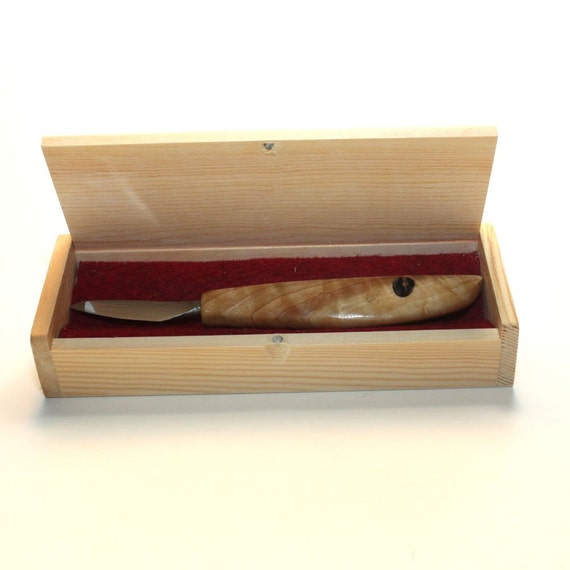 Wood carving knife in box hand forged