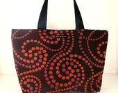 """HALFPRICE DAILY DEAL for 8th June. Tote in """"Cranberry"""" Fabric with seatbelt straps. Dark grey background with red and nylon lining."""