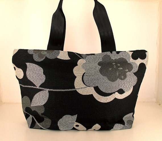 "HALF PRICE SALE. Tote in Recycled ""Bloom"" Fabric."