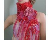 Custom order for Nina Felted merino wool  scarf with felted flower brooch