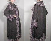 Long cardigan coat with needle felted trimming