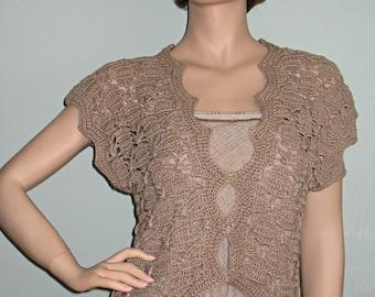 Hand crocheted linen twine top