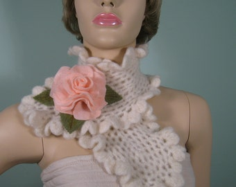 Crocheted  felted white wool neck warmer with felted brooch