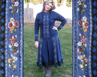Sweater coat long Blue winter boiled wool Eco friendly woodland fantasy, size large