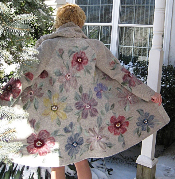 Knitted felted spring coat jacket FLORAL EXTRAVAGANZA