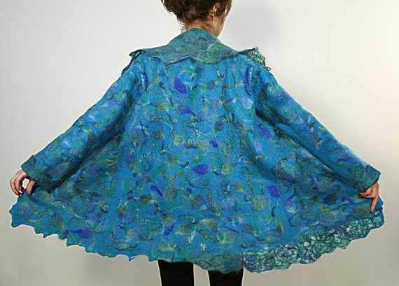 Felted women wool coat turquoise multicolored jacket PEACOCK
