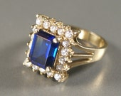 Vintage Gold Over Sterling Faceted Royal Blue Glass Ring